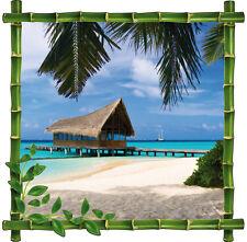 Sticker trompe l'oeil déco Bambou Maldives 60x60cm