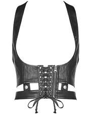 Punk Rave Gothic Dieselpunk Harness Vest Top Corset Black Faux Leather Steampunk