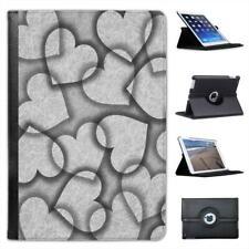 Interlocked Hearts On Grey Background Folio Leather Case For iPad Mini & Retina