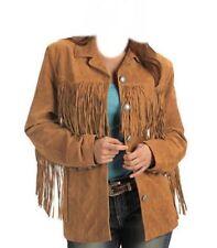 Womens Native American Cowboy Western Traditional Style Wear Fringe Coat Jacket