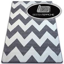 6 Größen Modernen Weich Teppich SKETCH FA66 grau weiß Zick Zack muster