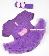 Dark Purple Birthday Cupcake Baby Jumpsuit Romper Girl Dress Purple Skirt NB-12M