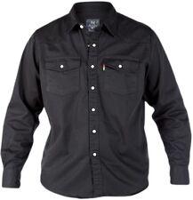 **NEW** Mens Big Size Duke Western Classic Black Denim Shirt - 3XL 4XL 5XL 6XL