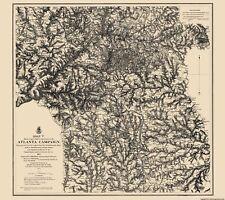 Civil War Map Print - Atlanta Campaign 1 - Photo-Litho  1864 - 23 x 25.82