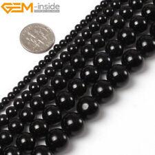 "Natural Black Tourmaline Gemstone Round Loose Beads For Jewellery Making 15"" UK"