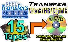 REEL TRANSFERS - Convert Video8/Hi8/Digital8  to DVD    FIFTEEN TAPE SPECIAL!