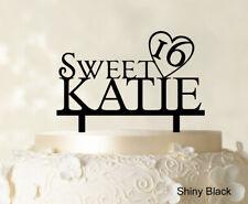 "Personalized Name ""Sweet 16"" Birthday Cake Topper Mirror Cake Topper Cake"