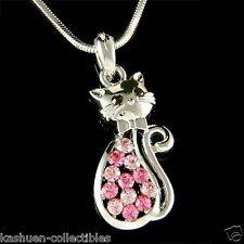 w Swarovski Crystal ~Pink Kitty Cat Kitten Pet Fun Animal Lover Pendant Necklace
