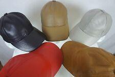 Adjustable 100% Lambskin Leather Baseball Cap Hat Biker Trucker Sports Visor NWT