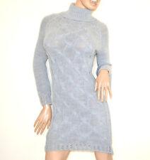 VESTIDO de punto GRIS mujer jersey suéter cuello alto lana made Italy dress G70