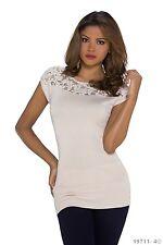 Top superior mini vestido esposa de moda tendencia Nicole encaje Crema