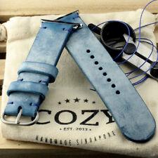 Handmade Blue Ghost Wax Leather Minimalist Watch Strap for Apple Watch 38mm 42mm