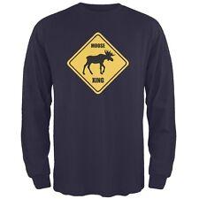 Moose XING Navy Adult Long Sleeve T-Shirt
