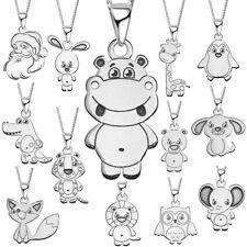 Halskette mit Anhänger Kette Baby Tiere 925 Echt Silber 925er für Mädchen Kinder