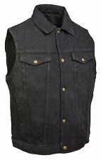 Men's Black Denim Motorcycle Vest w/ Collar - Biker Style - Gun Pocket Milwaukee