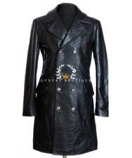 Tedesco Generale Maggiore Uomo Stile Militare Reale Cowhide Leather Jacket Cappotto lungo