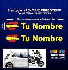 X2 PEGATINAS Bandera de España + Nombre - PERSONALIZABLE - MOTO - COCHE - VINILO