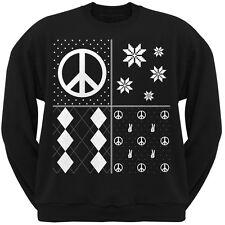 Peace Sign Festive Blocks Ugly Christmas Sweater Black Adult Sweatshirt