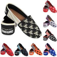 NHL Hockey Team Logo Stripe Womens Slip On Canvas Shoes - Choose Team