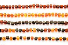 100% Baltic Amber CUBE Matte beads Necklace Teen Adult Men Women 36-70cm jewelry