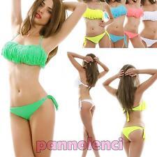 Bikini costume bagno fascia FRANGE due pezzi moda mare donna NUOVO B3187