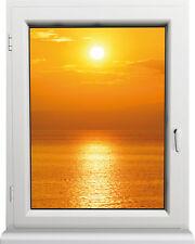 Sticker fenêtre trompe l'oeil Couché de soleil N°2