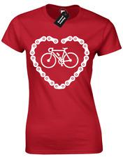 Bicicleta Cadena Corazón Señoras Camiseta Ciclista presente idea regalo de ventilador para ciclismo equitación