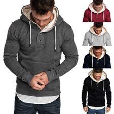 Men Winter Hoodies Slim Fit Hooded Sweatshirt Outwear Sweater Warm Coats Jackets