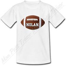 T-shirt Enfant Ballon de Rugby FootBall Américain avec Prénom Personnalisé