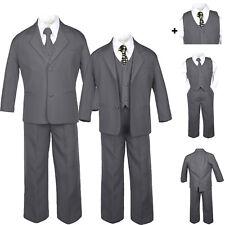 Baby Toddler Teen Formal Dark Grey Tuxedo 6pc Set Boys Suits Black Dot Tie S-20