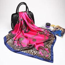 "Women's Fashion Leopard Square Scarf Print Satin Office Head Shawl 35""*35"" New"