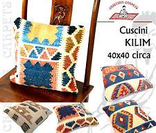 Cuscino Stuoia Kilim  Persiano 40x40 100% Lana con retro Tessuto Cotone e Zip