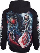 Esqueleto con espada impresa chaqueta de lana con capucha de manga larga gran impresión en parte posterior
