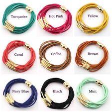 Velvet Leather Silver Gold Copper Tube Multi Layered Strand Magnet Wrap Bracelet