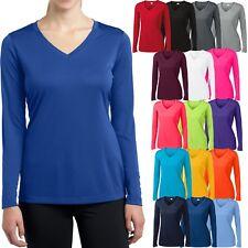 16a8f7529c3d9 Ladies Long Sleeve T-Shirt V-Neck Moisture Wicking Base Layer Womens XS-