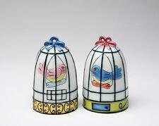 61906 Boy Meets Girl Pink+Blue Love Bird in Cage Salt Pepper Shaker Set Kitchen