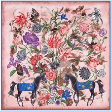 "Twill Silk Scarf Women Vintage Pink Print Head Shawl ""flowers & horse "" 51""*51"""