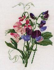 Sweet Peas Lathyrus Odoratus counted cross stitch kit or chart 14s aida