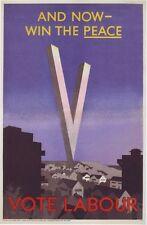 1945 Partito laburista cartellone elettorale Poster A3 / A2 stampa