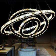 Luxury Ring Crystal Chandelier LED Ceiling Lamp Living Room Stair Pendant Light