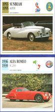 SCHEDA AUTO CAR DATA SUNBEAM ALPINE 1953/55 - ALFA ROMEO 8C 2900 1936/39