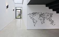 Wall Vinyl Sticker World Map Geometric Lines GF453