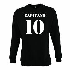 Felpa CAPITANO 10 Divertente Sweatshirt Hoodie Urban Cotone Girocollo Calcio vip