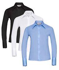 Damen Blau Schwarz Weiß Langärmlig Knopfkragen Bügelfrei Hemd BLUSE