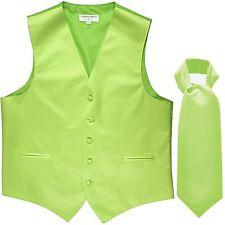 New Men's Solid Tuxedo Vest Waistcoat & Ascot Cravat Lime Green Wedding