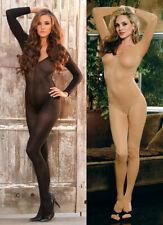 Sexy Black Nude Women Stretchy Lingerie Deep V Neck Sheer Bodysuit Bodystocking