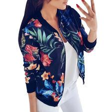 Womens Ladies Casual Print Long Sleeve Tops Zipper Jacket Outwear Tops Cardigans