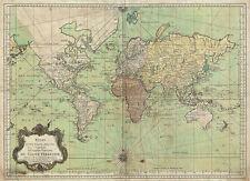BELLIN NAUTICO grafico Mappa del mondo geographicus BELLIN MONDO STAMPA D'EPOCA