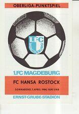 OL 83/84  1. FC Magdeburg - FC Hansa Rostock