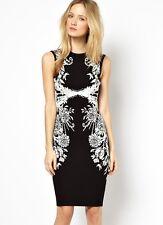 NewWT Karen Millen black bodycon floral jacquard knit dress Sz 2 & 3 UK 10 12 14